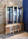 Gorgeous Gold & Black display cabinet with glass shelves & mirror back © 2021 Avril Jones